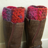 Multicolor Boot cuffs - Colorful leg warmers  - Winter Fashion 2013 - Boot toppers - red boot cuffs - Girls Fashion - Granny square
