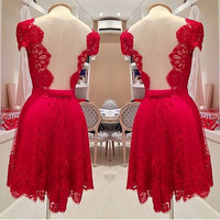 V-Neck Cap Sleeves Backless Short Lace Party Dress
