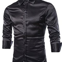 jeansian Men's Fashion Casual Slim Fit Long Sleeves Dress Shirts Tops 8737