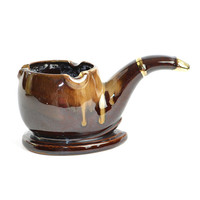 Retro Pipe Ashtray or Planter - Brown Drip Glaze Redware Ceramic, Gold Painted Accents - Smoking Man Cave, Bar Kitsch - Vintage Home Decor