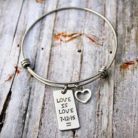 Love Is Love - Alex And Ani Bracelet - Personalized - Adjustable  - Hand Stamped Jewelry - Equality - One Love - Same Sex Marriage