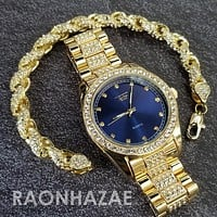 Raonhazae Hip Hop Iced Lab Diamond Blue Face Drake 14K Gold Plated Watch with Rope Bracelet Set - GTR001
