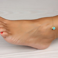"Rose gold anklet, Turquoise anklet, gold ankle bracelet, rose bracelet, wedding, turquoise bracelet, bridal, best friend anklet, ""Aigle"""
