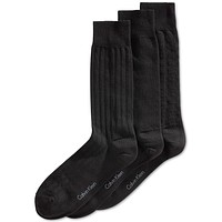 Calvin Klein Textured Calf Dress Socks Black 3 Pair 10-13