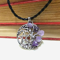 Pewter Tree of Life Pentagram and Amethyst Choker Necklace, Pentacle Necklace, Wiccan, Norse Yggdrasil, Tree of Life,Gem,Protection Necklace