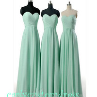 Cheap Long Mint Chiffon Bridesmaid Dress Coral Blue Peach Grey Black Sweeetheart Prom/Homecoming/Party/Cocktail Dress Wedding Party Dress