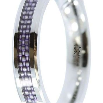 CERTIFIED 4mm Tungsten Carbide Plumb Carbon Fiber Inlay Wedding Band