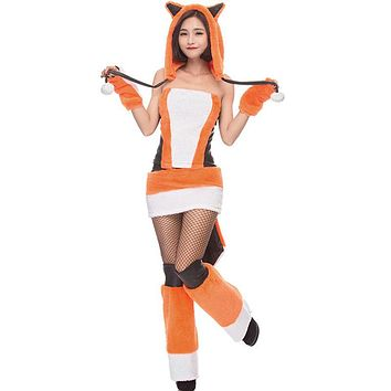 Creative Halloween Cosplay Dress Adult Women Fluffy Fox Costume