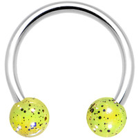 """16 Gauge Yellow Speckled Cosmos Horseshoe Circular Barbell 3/8"""" 