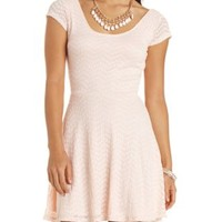 Chevron Lace Cap Sleeve Skater Dress by Charlotte Russe