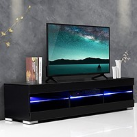 Bright Wooden & Glass Crafted TV Stand