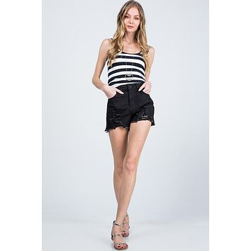 Special A High Rise Destroyed Shorts Black