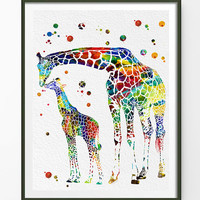 50% OFF 16X20 Baby Giraffe Watercolor Print Mother Giraffe with baby illustration wild animals poster colorful nursery print wall art gift