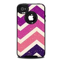 The Purple Scratched Texture Chevron Zigzag Pattern Skin for the iPhone 4-4s OtterBox Commuter Case