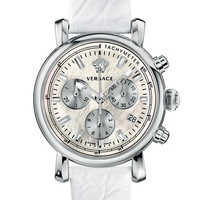Versace Day Glam Silver-Tone Leather Chronograph Watch
