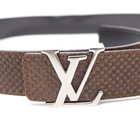 AUTHENTIC LOUIS VUITTON Ceinture LV Initials 40MM Men's Belt Mocha M6876