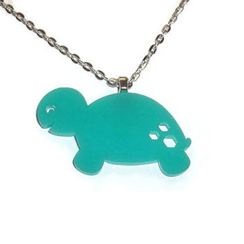 Mint Green Turtle Necklace, Cute Perspex Pastel Laser Cut Animal, Quirky Kitsch Jewelry