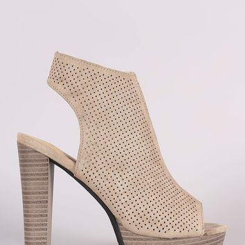 Perforated Suede Chunky Platform Mule Heel