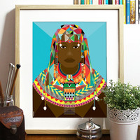 African Beauty Collection Blue Poster 11x14 inch African patterns Tribal chevron African woman tribal costume Bright sunny colors of Africa