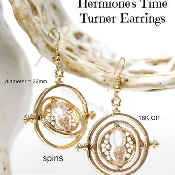 Time Turner Earrings Necklace Set Hermione Hour Glass Spins Harry Potter Time Travel Replica