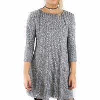 Kingsport Town Charcoal Gray Ribbed Knit Sweater Tunic