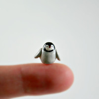 Micro Baby Penguin - Hand Sculpted Miniature Polymer Clay Animal