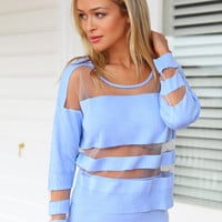 BLURRED LINES TOP (BL) - Baby blue cropped knit featuring transparent mesh detailing