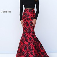 Off The Shoulder Two Piece Long Floral Dress by Sherri Hill