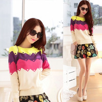 2015 New Arrival Women Casual Round Neck Long Sleeve Knitted Sweater = 1945736004
