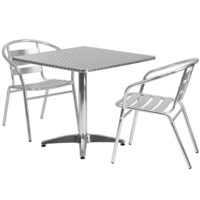 31.5'' Square Aluminum Indoor-Outdoor Table with 2 Slat Back Chairs