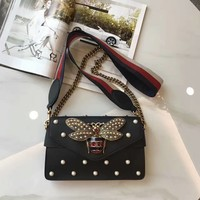 GUCCI Women Shopping Leather Metal Chain Crossbody Satchel Shoulder Bag Black