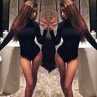 Women's Ladies Fashion Turtleneck Long Sleeve Jumpsuit Bodysuit Bodycon Rompers