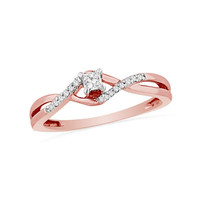 1/7 CT. T.W. Princess-Cut Diamond Promise Ring in 10K Rose Gold - View All Rings - Zales