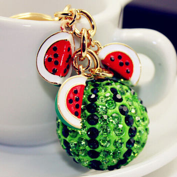 New Green Watermelon Ball Pendant Key Chain Ring Fashion Rhinestone Trinkets Metal Keychain keyring for Women Bag Charms Jewelry
