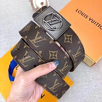 Bunchsun Louis Vuitton LV New Fashion Monogram Print Leather Leisure Women Men Belt With Box Coffee