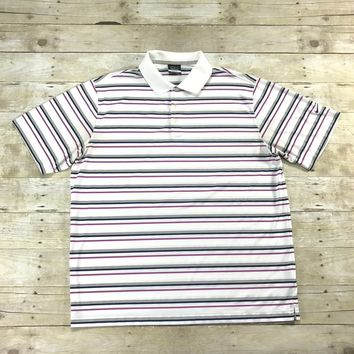 Nike Golf Dri-Fit Striped White / Pink / Gray Golfing Polo Shirt Mens Size XL