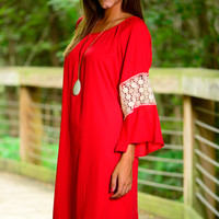 Sure Of Lace Dress, Red