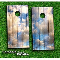 Cloudy Wood Planks Skin-set for a pair of Cornhole Boards