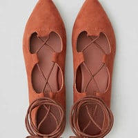 AEO Pointed Toe Lace-Up Flat , Brick Red