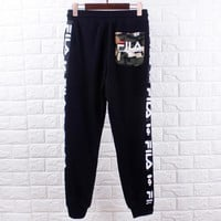 Bape Ape & Fila New fashion letter print couple sports leisure camouflage pants Black