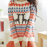 Deer Embroidered Knitted Sweater