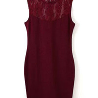 Bodycon Lace Panel Mini Dress in Red or Black