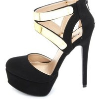Gold-Plated Cut-Out D'Orsay Platform Pumps by Charlotte Russe