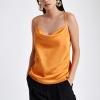 Orange cowl neck cami top - Cami / Sleeveless Tops - Tops - women