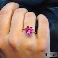 Pink Sapphire Heart and Silver Ring, Sweetheart Ring, Engagement Ring, Valentines Gift, Sterling Silver Ring with Heart Pink Sapphire