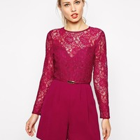 Oasis   Oasis Lace Belted Romper at ASOS