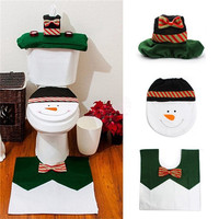 1 sets Happy Snowman Christmas Bathroom Set Toilet Seat Cover Rug Xmas Decoration Year decorations Adornos de Navidad Promotions
