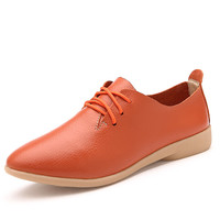 Women's Fashion Pointed Toe Flat Shoes Casual Lace Up Leisure Shoes Genuine Cow Leather Oxford Flats Summer Moccasins for Ladies