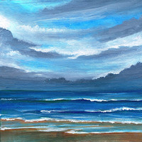 Here Comes the Rain -  Original Acrylic Painting on Canvas 8 X 8 Seascape Beach Ocean Florida