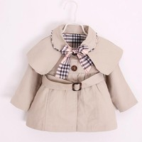 2017 Baby Girls Windbreaker Jackets Children Solid Color Cap Trench Coats Kids Plaid Bow Casual Cotton Outerwear Coats